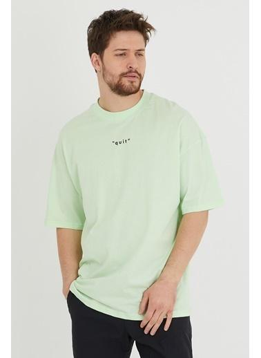 XHAN Su Yeşili Baskılı Oversize T-Shirt  Yeşil